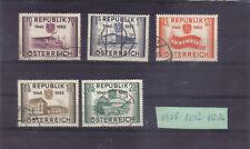 Österreich 1955: 10 J Wdhst. Unabhängigkeit Österreich - Mi. 1012 - 1016 o