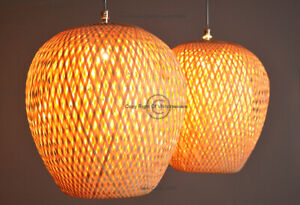 Handmade Rattan Lampshade, Pendant Or Table Shade Apple Round Shape Brown L002