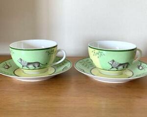 Hermes Morning Soup Cup Saucer Africa Green Animal Tableware set Porcelain Mint
