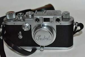 Canon Leotax F Camera with Leather Case & 2 Lenses 100mm & 5cm +Walz Flash 1950s