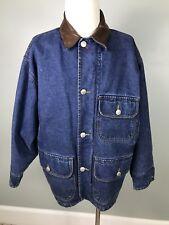 Mens Nautica Sz S Denim Blue Jean Barn Coat Field Jacket Lined Leather Collar