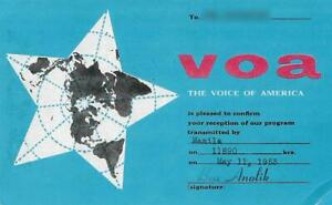1953 QSL: The Voice of America - VoA via relay in Manila, Philippines