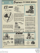 1957 PAPER AD 5 PG Gas Gasoline Engine Motor Toy Torpedo Atwood Cox Cameron Fox