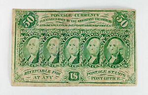 US 50C Fractional Currency Note First Issue FR 1312 XF Condition