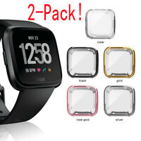 2PCS For Fitbit Versa Silicone Protective TPU Case Screen Protector Frame Cover