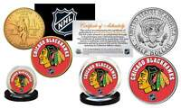 CHICAGO BLACKHAWKS 2-Coin Set JFK Half Dollar & Gold State Quarter NHL LICENSED