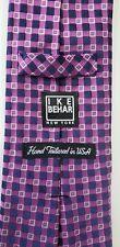"IKE BEHAR Silk Tie Thick Hand Tailored Purple Navy Geometric Necktie 3.5"" X 59"""