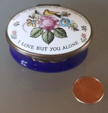 "12/23 Halcyon Days Enamels Oval Box, ""I Love But You Alone"""