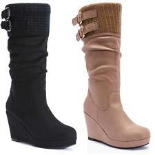 Ladies Wedge Boots Womens Winter Smart Mid Calf Biker Heels Desert Shoes Size
