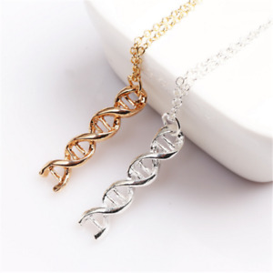 Double Helix Pendant Biology Lab Science CH DNA Structure Geek Chain Necklace