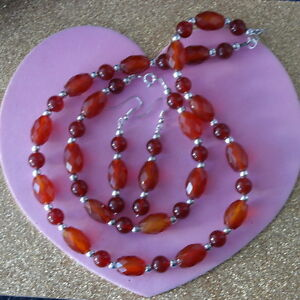 Beautiful Set Necklace Earrings Bracelet With Faceted Carnelian In Gift Box