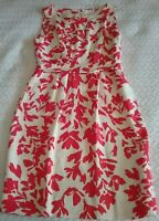 TRENERY PRETTY CREAM FIT N FLARE DRESS WITH RED FLORAL DESIGN SIZE 10.