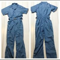 Vintage 80s Blue Boiler Jumpsuit Belted Gathered Short Sleeve Retro Medium