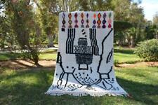 "Authentic handmade Azilal rug 8'x 4'7"" Beni Moroccan berber carpet area wool"