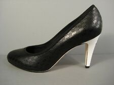 CHANEL CLASSIC BLACK PERFORATED LEATHER ROUND TOE PUMPS WHITE HEELS 38.5/8 NEW
