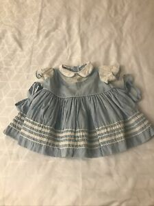 Vintage LOVE Brand. girls toddler dress Blue ribbon accents No Size See Pictures