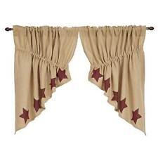 Burlap w/Burgundy Stencil Stars Prairie Window Swag by VHC Brands - Unlined