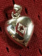 "I'll Remember You Ruby 925 Sterling Silver Ashes Cremains Heart Locket 18"" Chain"