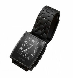 Pebble Steel Smartwatch 401BLR with Black Leather Band - Brand New