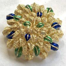 Vendorafa Italy 18k Gold AL419 Flower Leaf Cluster Brooch/Pin  Blue/Green Enamel