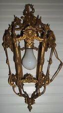 Vtg French  Brass light fixture 6 panels swag lantern cherubs