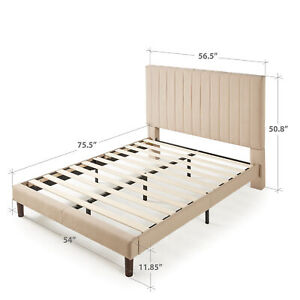 Full Upholstered Platform Bed Frame Headboard Bedroom Furniture Frame 51""