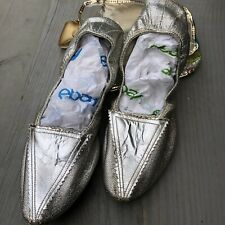 Bertlyn Vintage Folding Slipper Shoes Silver 60s 7 - 7.5 In Orig Case Japan
