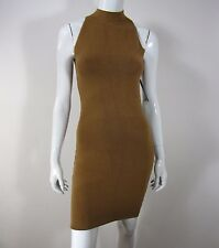 AKIRA CHICAGO BLACK LABEL EXPOSED ZIPPER SLEEVELESS DRESS SIZE L LARGE MOCHA