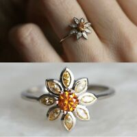 Flower 925 Silver Women Wedding Rings Jewelry Round Cut Citrine Ring Size6-10