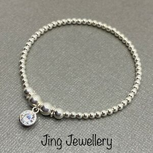 Sterling Silver Beaded Stretch Stacking Bracelet With Sparkly Cz Charm Handmade