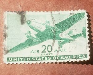 GM45 U.S. Air Mail 20 Cent 1935-44 Used Stamp