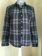 Ladies Navy & White Fitted Check  Long Sleeved Shirt Blouse Top Size 8 By H&M