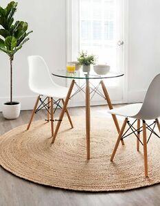 Jute Round Rug Braided Style 100% Natural Jute Area Rug 7x7 Feet Modern Carpet