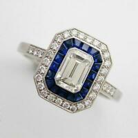 Vintage Art Deco 14K White Gold Over Ring Blue Sapphire 2.70 Ct Emerald Diamond