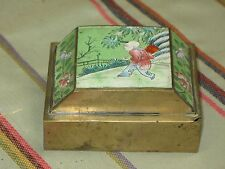 Antique Chinese Pictorial Opium Snuff Box Humidor Copper CLOISONNE Enamel