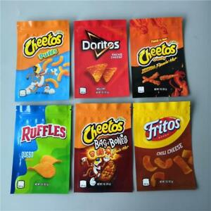 100x Empty Cheetos Doritos Fritos RUFFLES Biscuit Storage Self Seal Packing Bags