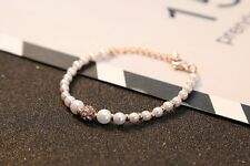 Rose Gold Crystal Ornament  w/ Pave Beads Stretch Pearl Bracelet US Seller