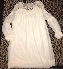 Entro Women L Dress Cream Lace L/S Bell Slv Lined Pullover Boho Romantic EUC