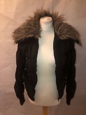 PRIMARK, UK 10, EUR 38, BLACK QUILTED BOMBER JACKET/COAT, FAUX FUR, PRE-OWNED