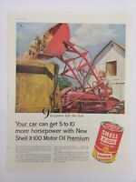 Vintage 1955 SHELL X-100 Motor Oil Can Tractor Ephemera 50's Print Ad