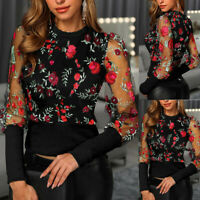 Fashion Women O-Neck Long Sleeve Floral Embroidery Sheer Mesh Insert Top Blouse