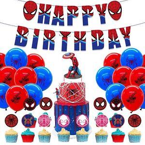 Spiderman Geburtstag Set XXL Ballons Girlande Topper Torte Cupcake Dekoration