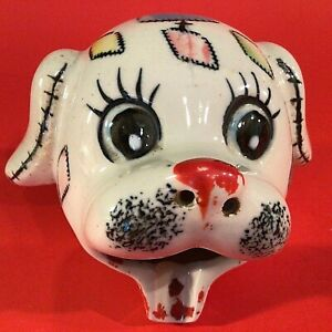 """DOG ASHTRAY PATCHES THE DOG 4 1/2""""W HAND PAINTED VINTAGE RED BOW TIE"""