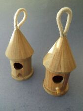 Round Wood Birdhouse for Wrens, Chickadees and Other Small Birds. Set of 2