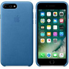 100%25 Genuine Official Apple iPhone 7 Plus Leather Cover Case - Sea Blue / Red