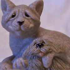Quarry Critters Kitty Cat n Puppy Dog MIB New Cari n Don Figurine Tan Mint NOS