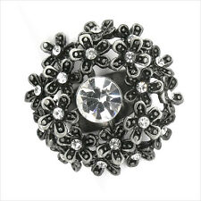 Paved Flower Floral Cocktail Ring Costume Jewelry Crystal Clear Black 3D New 151