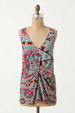 Anthropologie, Glass Tiles, Silk V-neck tank by Leifnotes, Size 8, NWOT