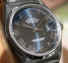 Rolex DATEJUST 16200 Mens Steel Oyster Bracelet 36MM Domed Bezel Blue Roman Dial