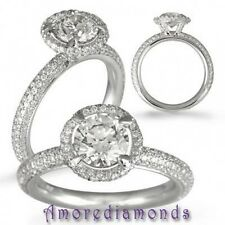 1.55 ct F VS2 round diamond handmade antique halo pave set engagement ring 18k